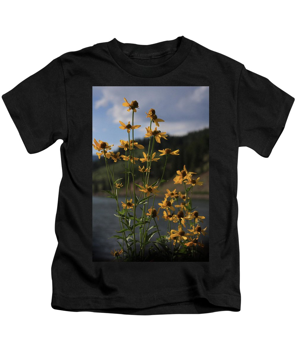 Flowers Kids T-Shirt featuring the photograph Flower Mountain View by Kim Henderson