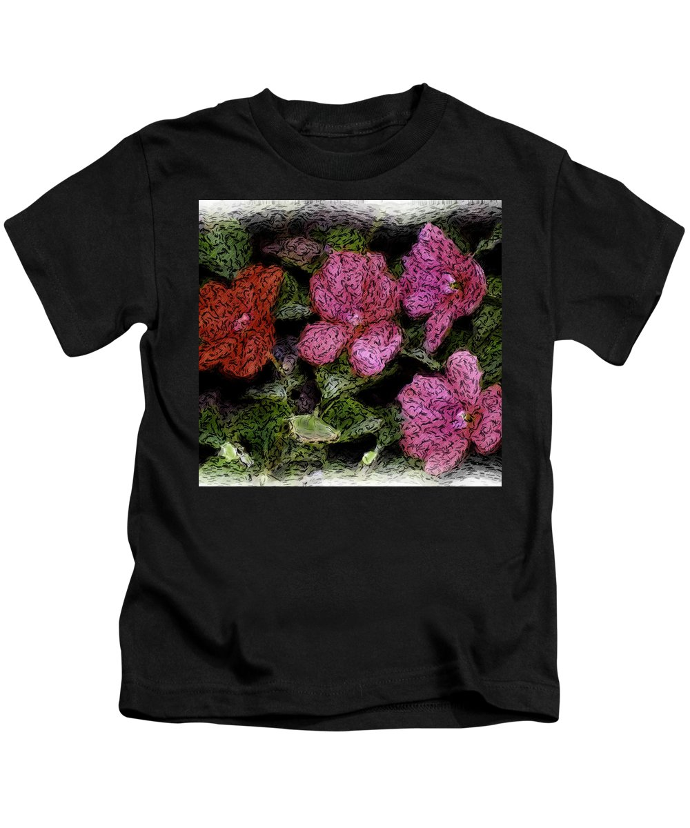 Digital Photograph Kids T-Shirt featuring the photograph Flower Sketch by David Lane
