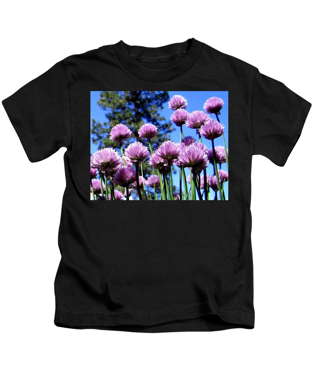 Flowering Chives Kids T-Shirt featuring the photograph Flowering Chives by Will Borden