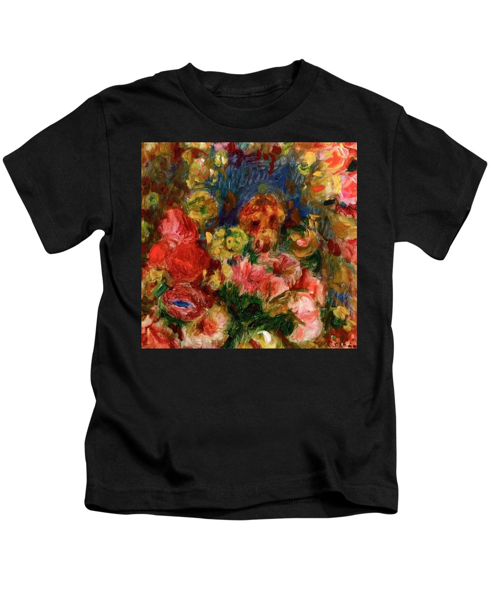 Flowers Kids T-Shirt featuring the painting Flowers 1902 by Renoir PierreAuguste