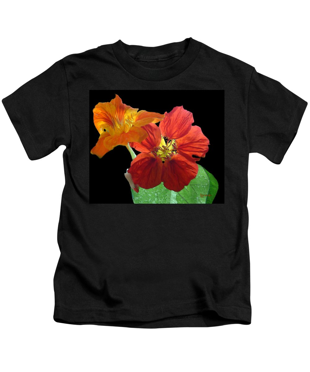 Nasturtiums Kids T-Shirt featuring the painting Flowers For Ebie by RC DeWinter