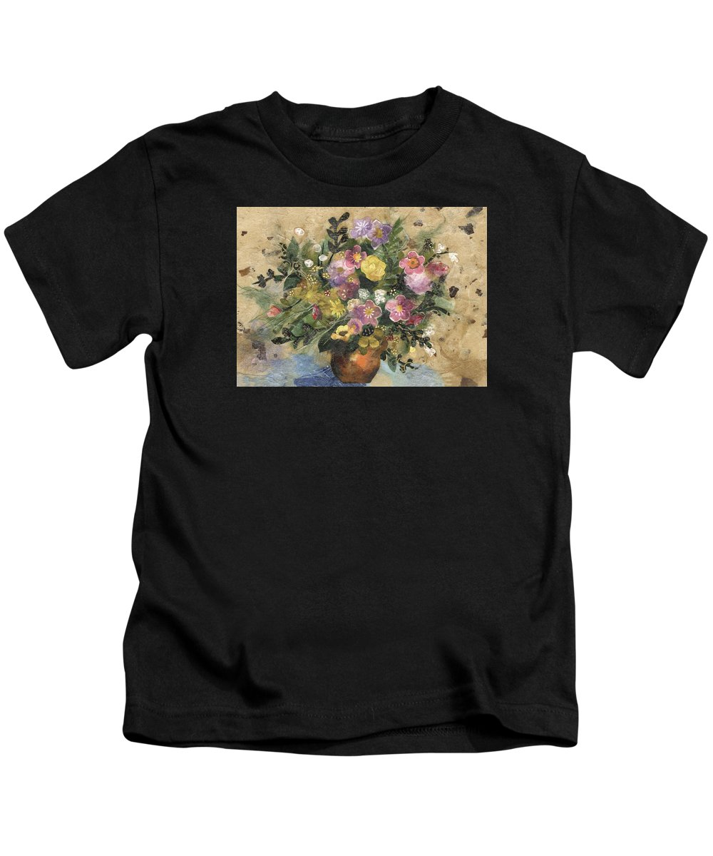 Limited Edition Prints Kids T-Shirt featuring the painting Flowers in a Clay Vase by Nira Schwartz