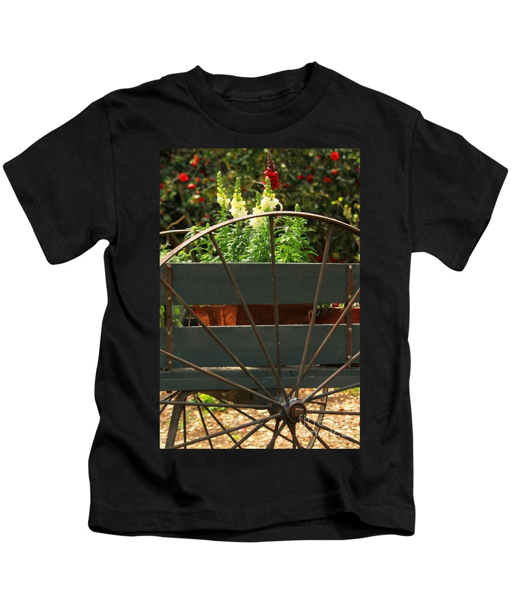 Floral Kids T-Shirt featuring the photograph Flowers In The Cart by James Eddy