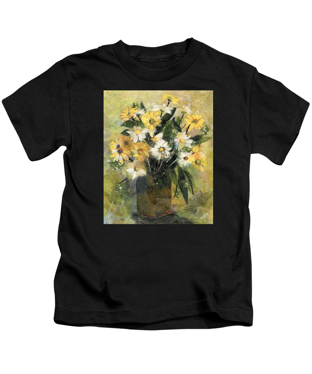 Limited Edition Prints Kids T-Shirt featuring the painting Flowers in white and yellow by Nira Schwartz