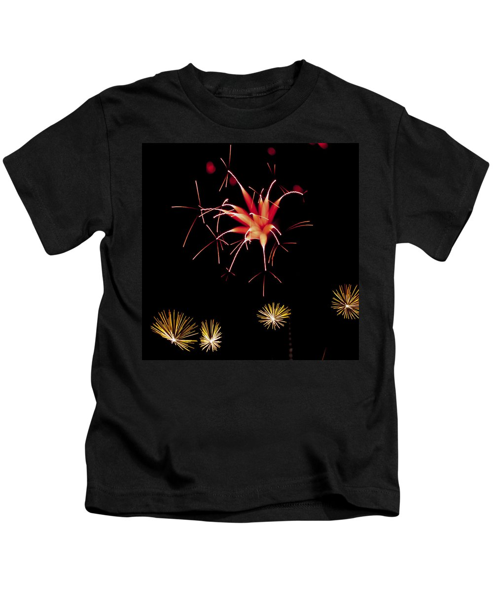 Fireworks Kids T-Shirt featuring the photograph Flowerworks #10 by Sandy Swanson