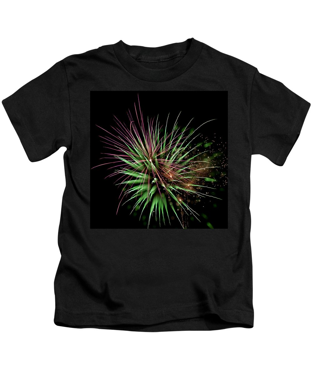 Fireworks Kids T-Shirt featuring the photograph Flowerworks #11 by Sandy Swanson