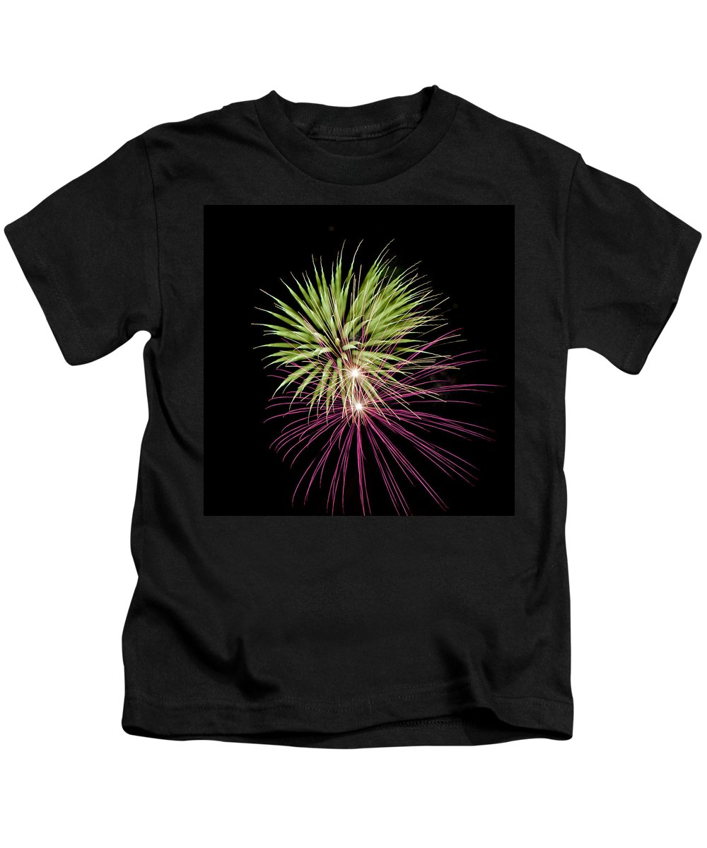 Fireworks Kids T-Shirt featuring the photograph Flowerworks #14 by Sandy Swanson
