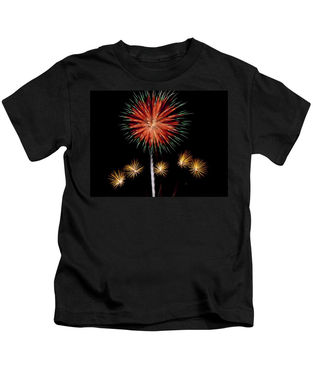 Fireworks Kids T-Shirt featuring the photograph Flowerworks #9 by Sandy Swanson