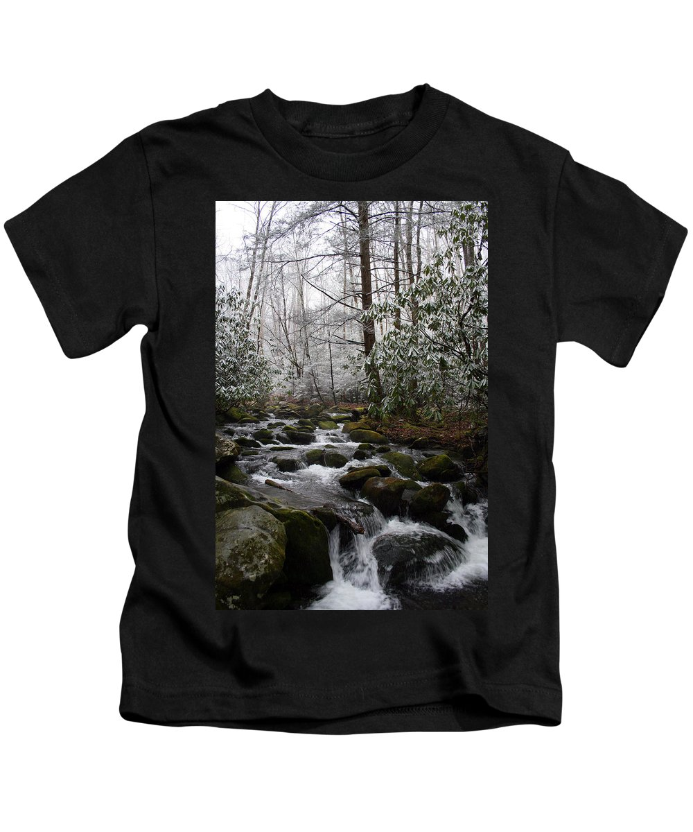Park Winter Snow White Water Stream Creek Flow River Rock Boulder Tree Green Rush Cold National Kids T-Shirt featuring the photograph Flowing by Andrei Shliakhau