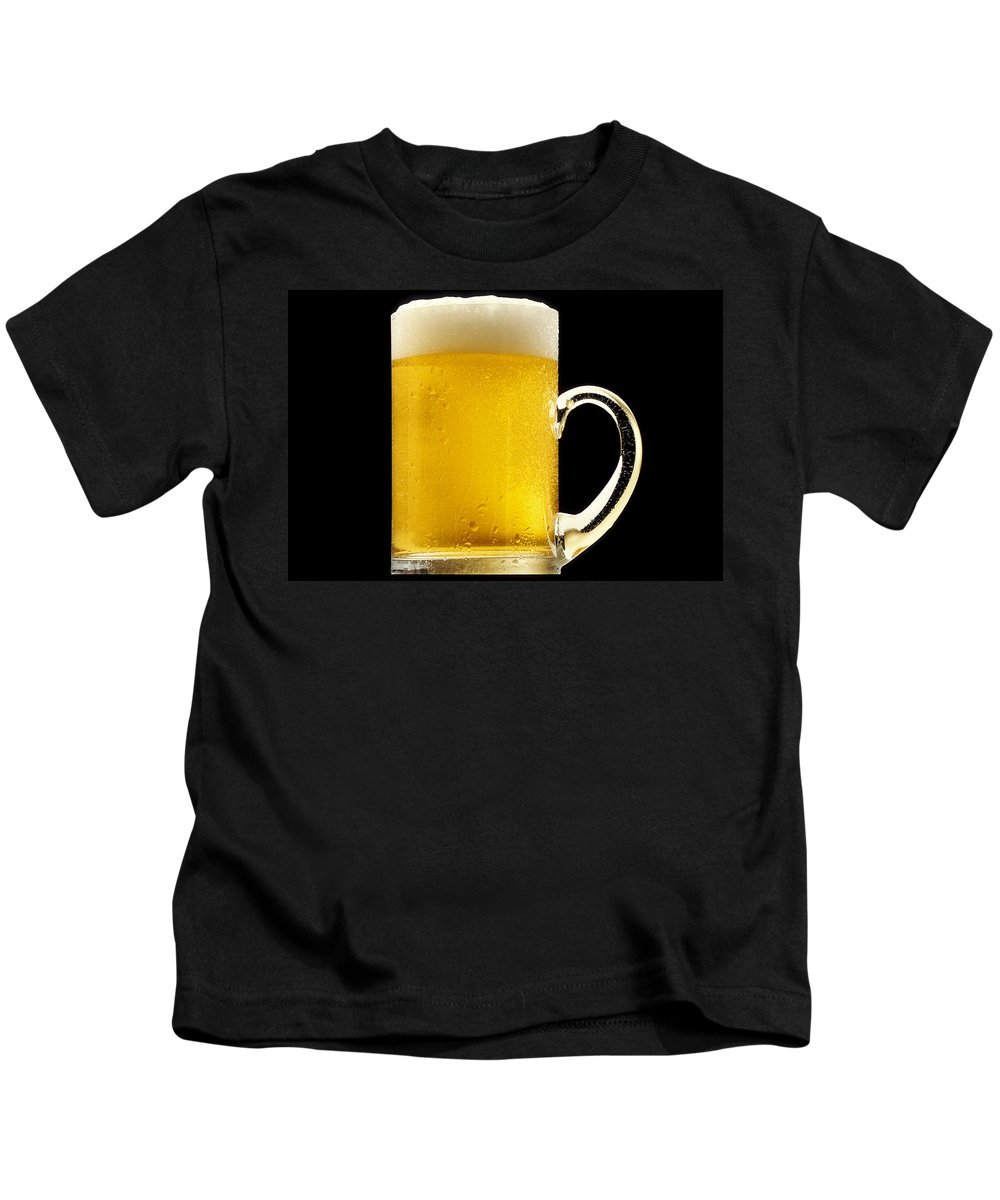Beer Kids T-Shirt featuring the photograph Foamy Beer Mug by PhotographyAssociates
