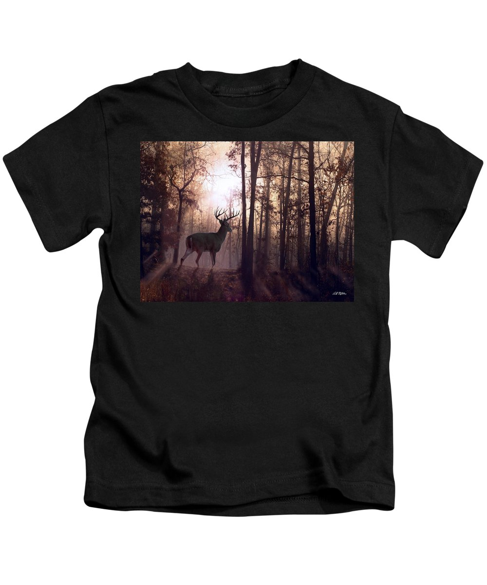Deer Kids T-Shirt featuring the digital art Foggy Morning In Missouri by Bill Stephens