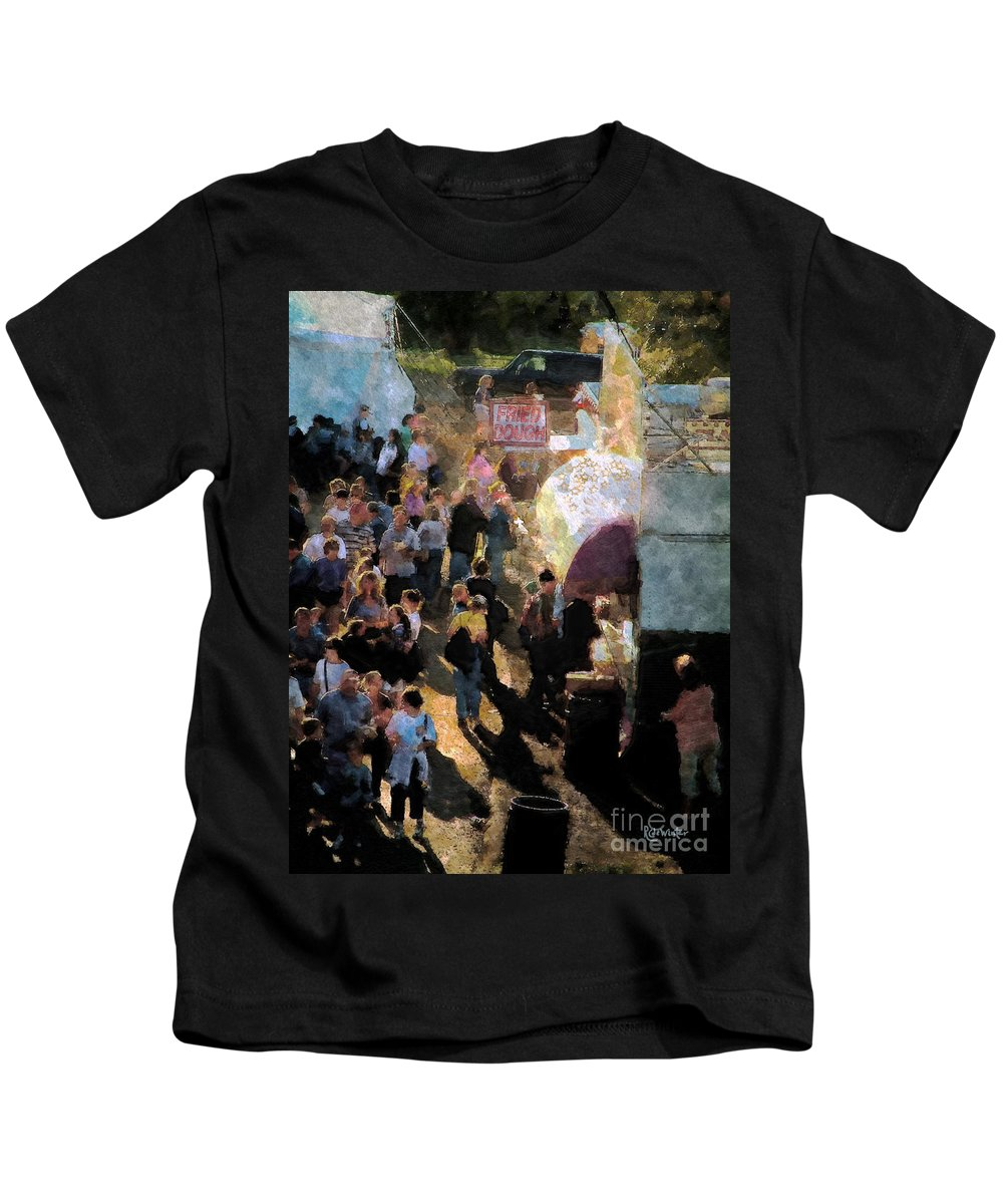 Americana Kids T-Shirt featuring the painting Food Alley At The Country Fair by RC DeWinter