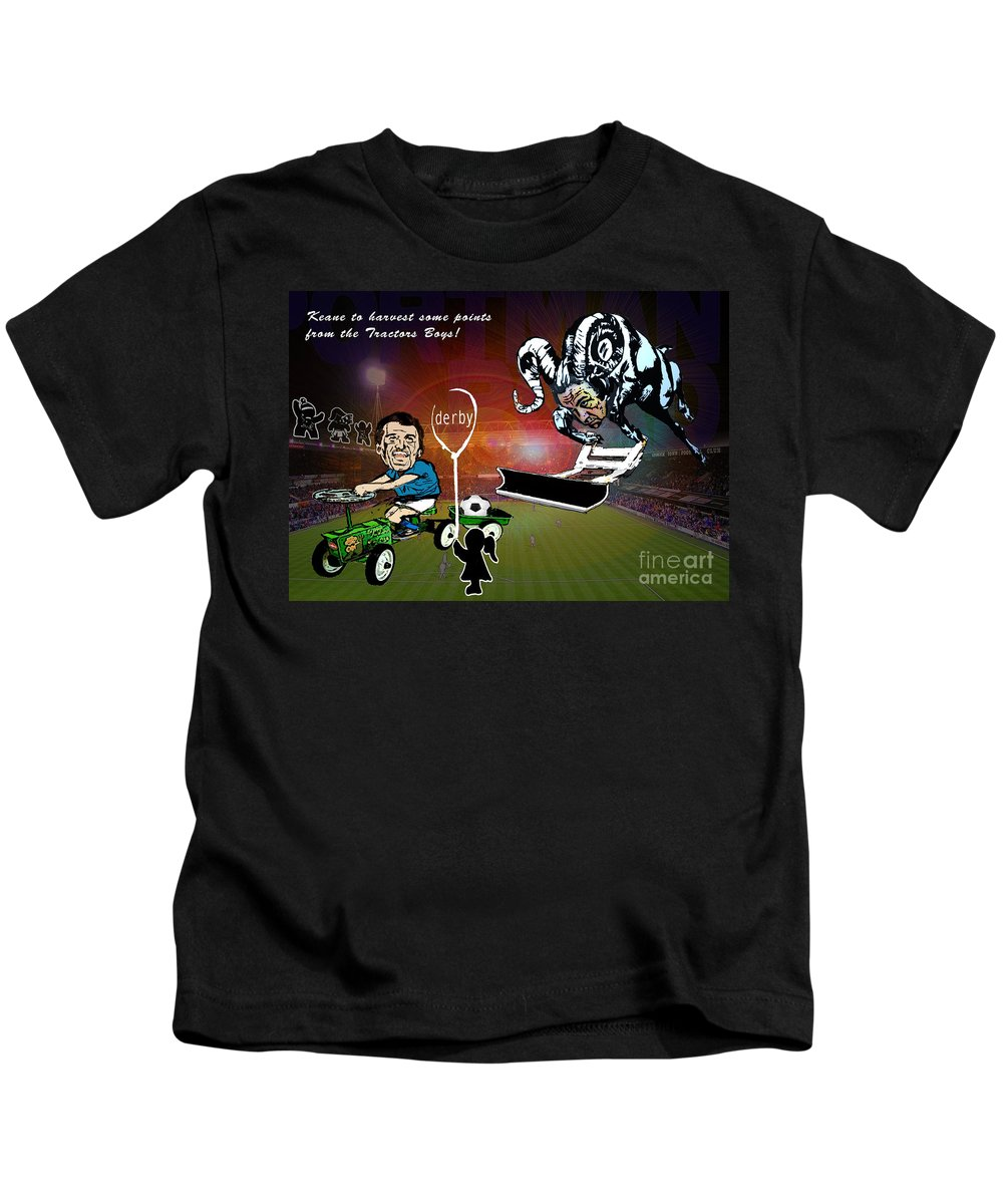 Kids T-Shirt featuring the painting Football Derby Rams Against Ipswich Tractor Boys by Miki De Goodaboom
