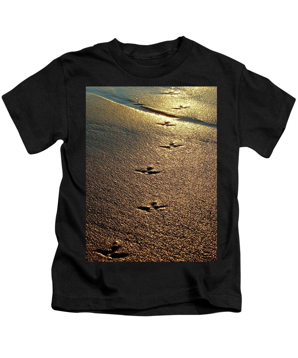Sand Kids T-Shirt featuring the photograph Footprints - Bird by Jill Reger