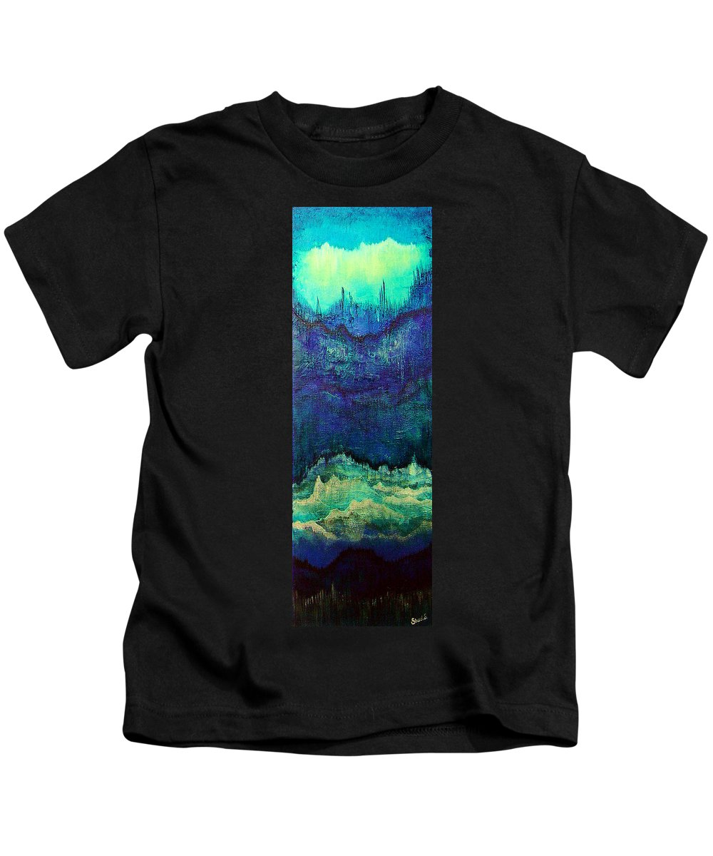 Blue Kids T-Shirt featuring the painting For Linda by Shadia Derbyshire