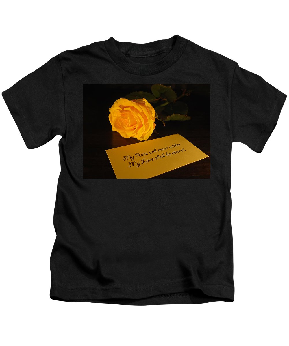Valentine Kids T-Shirt featuring the photograph For My Love by Daniel Csoka