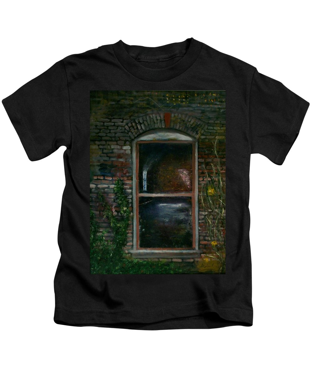 Landscape Kids T-Shirt featuring the painting For Rent by Stephen King