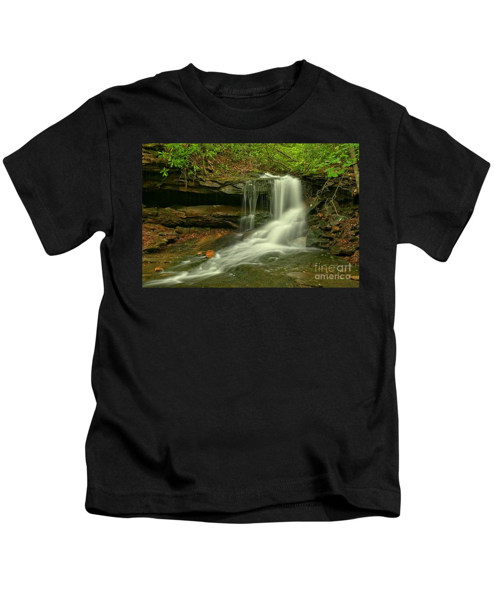 Cave Falls Kids T-Shirt featuring the photograph Forbes State Forest Cole Run Cave Falls by Adam Jewell