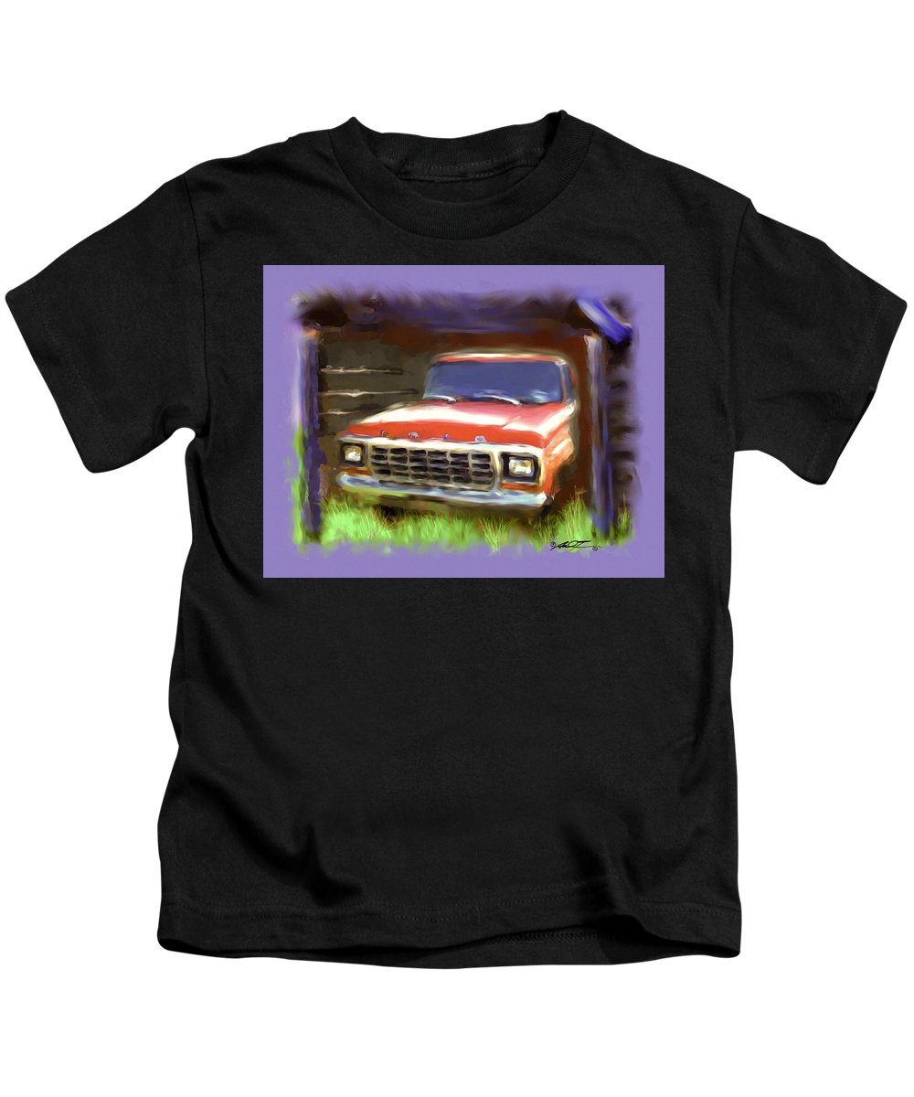 Old Barn Kids T-Shirt featuring the painting Ford F150 by Dale Turner