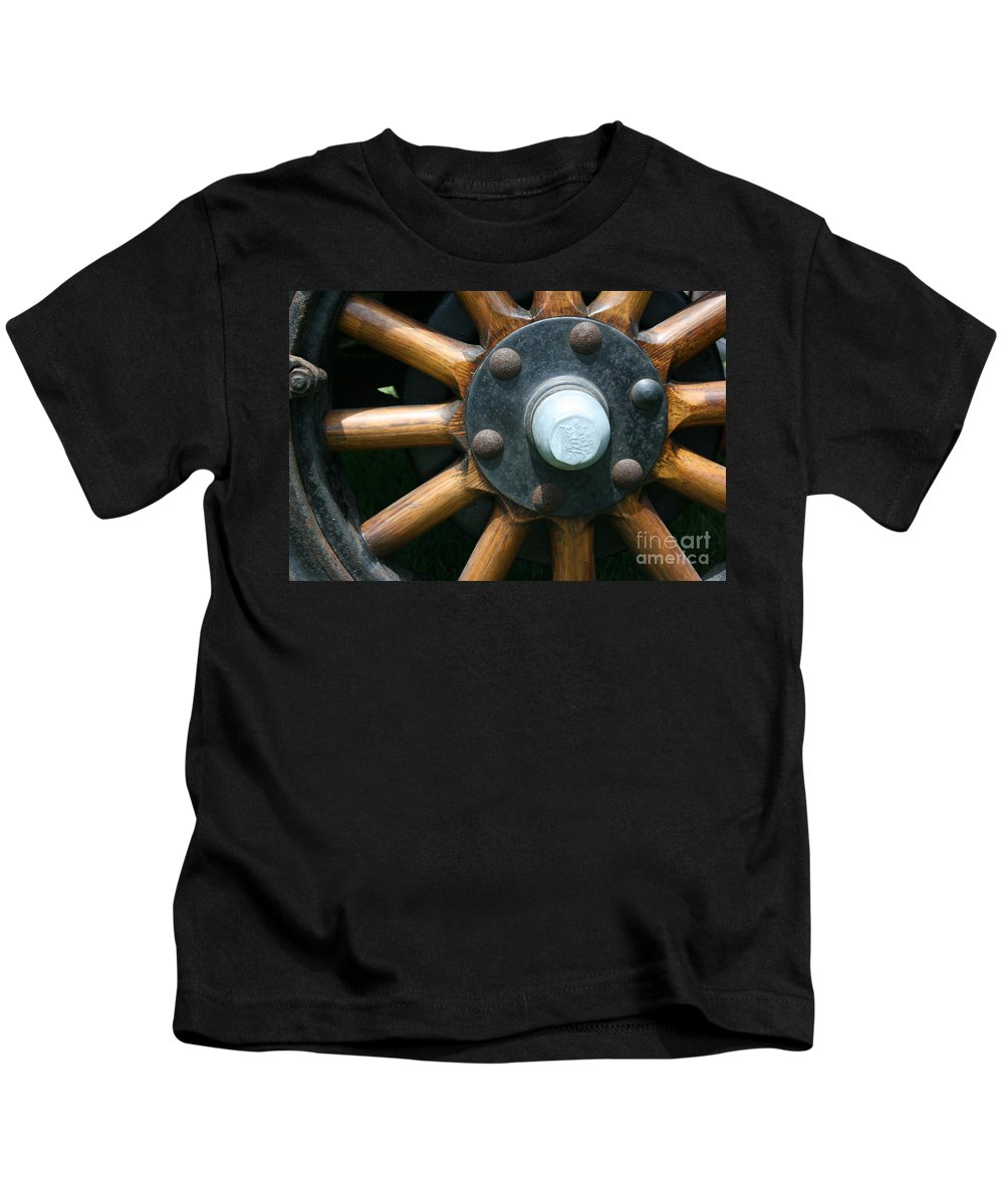 Wagon Kids T-Shirt featuring the photograph Ford Wagon Wheel by Dawn Downour