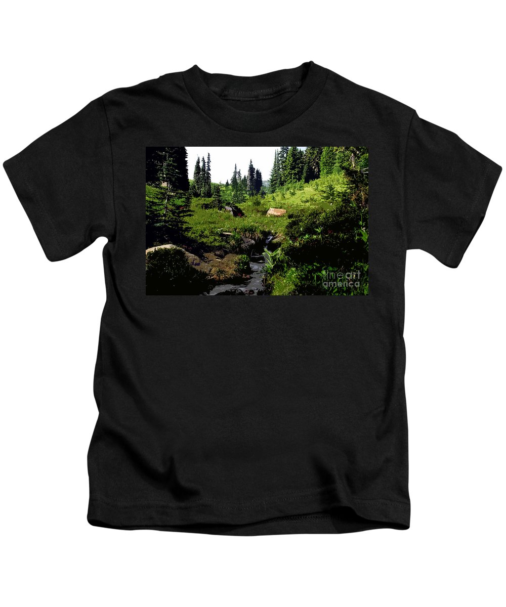 Forest Kids T-Shirt featuring the painting Forest by David Lee Thompson