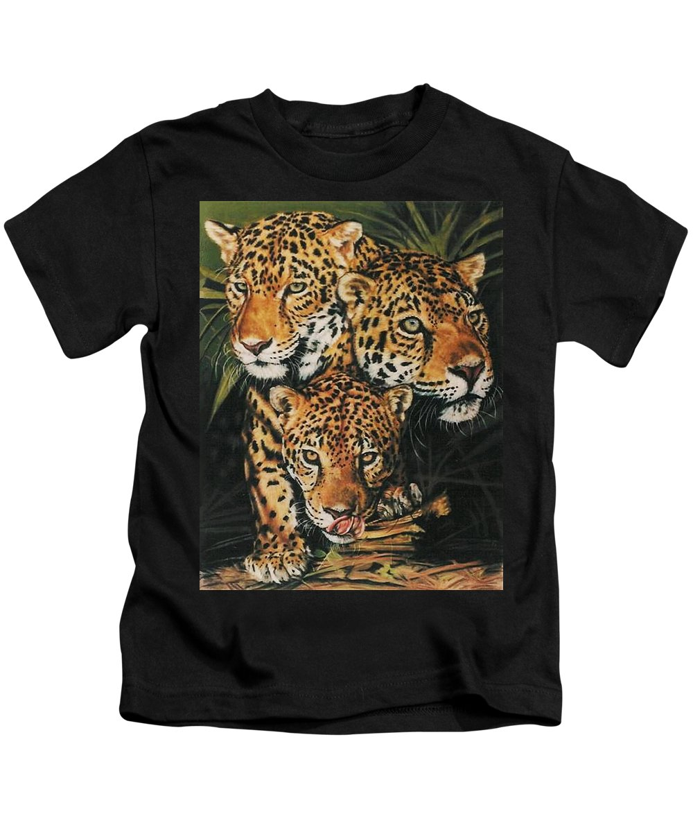 Jaguar Kids T-Shirt featuring the pastel Forest Jewels by Barbara Keith