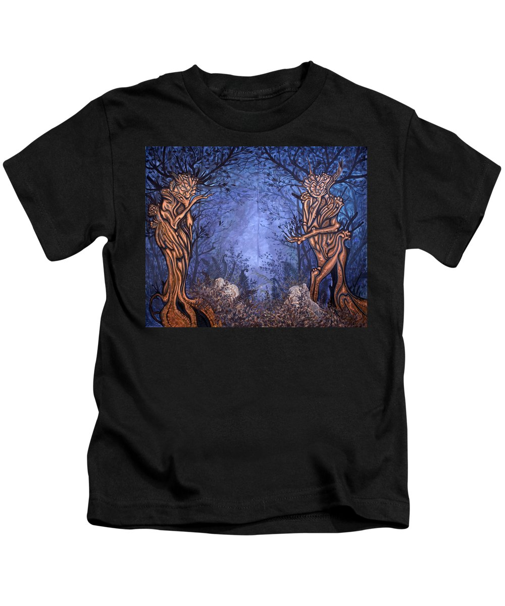 Mystic Kids T-Shirt featuring the painting Forest by Judy Henninger