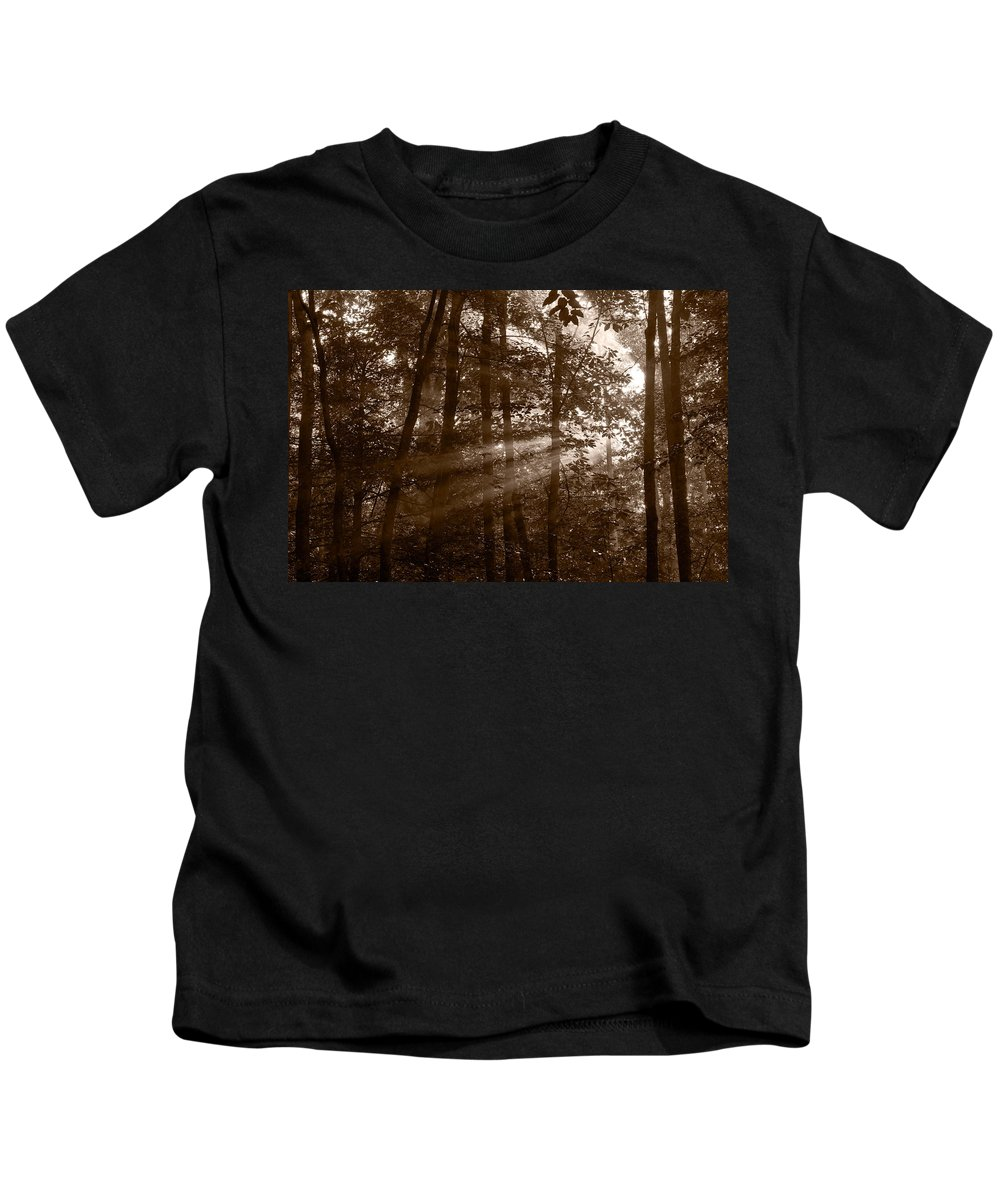 Black Kids T-Shirt featuring the photograph Forest Mist B And W by Steve Gadomski