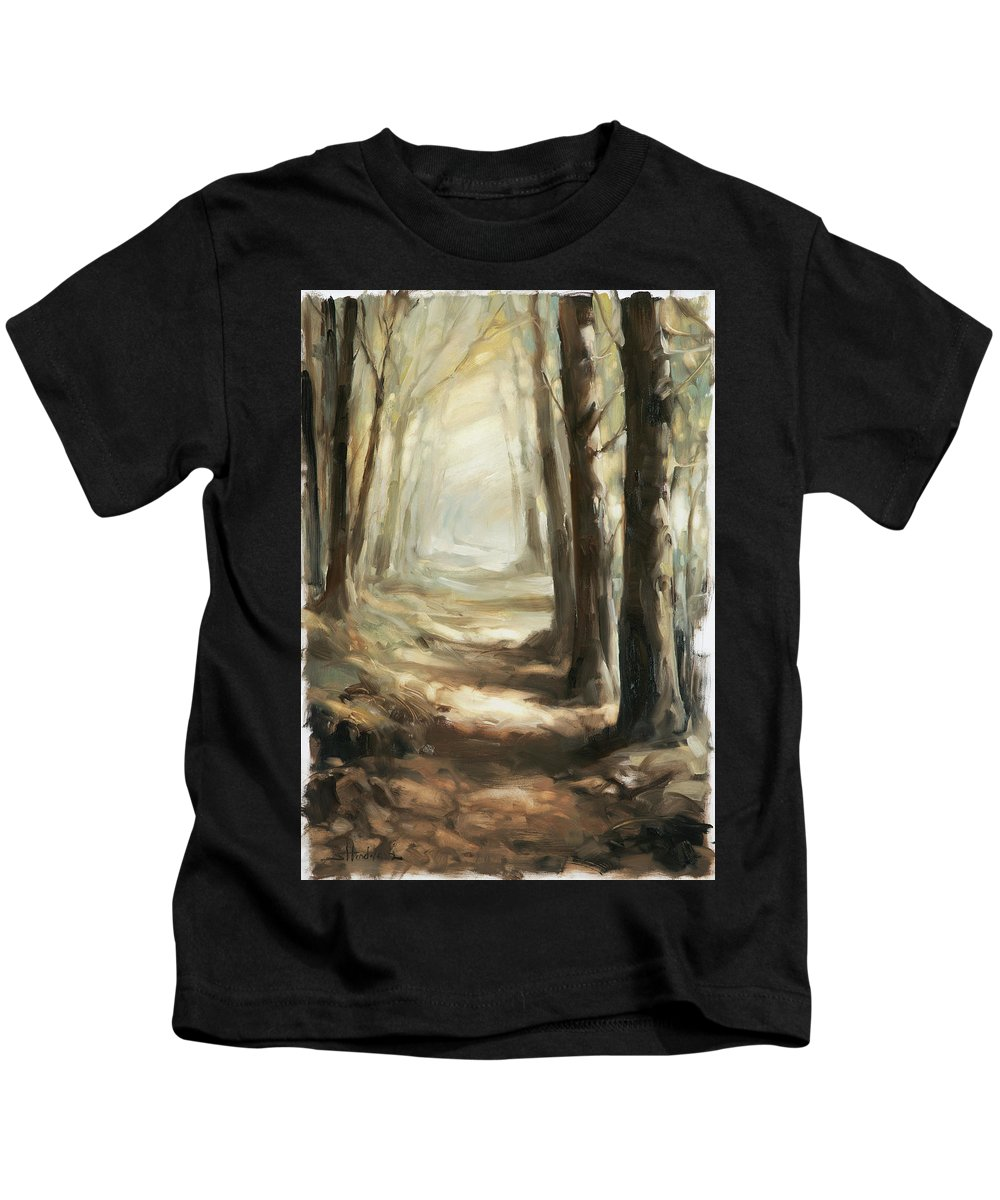 Forest Kids T-Shirt featuring the painting Forest Path by Steve Henderson
