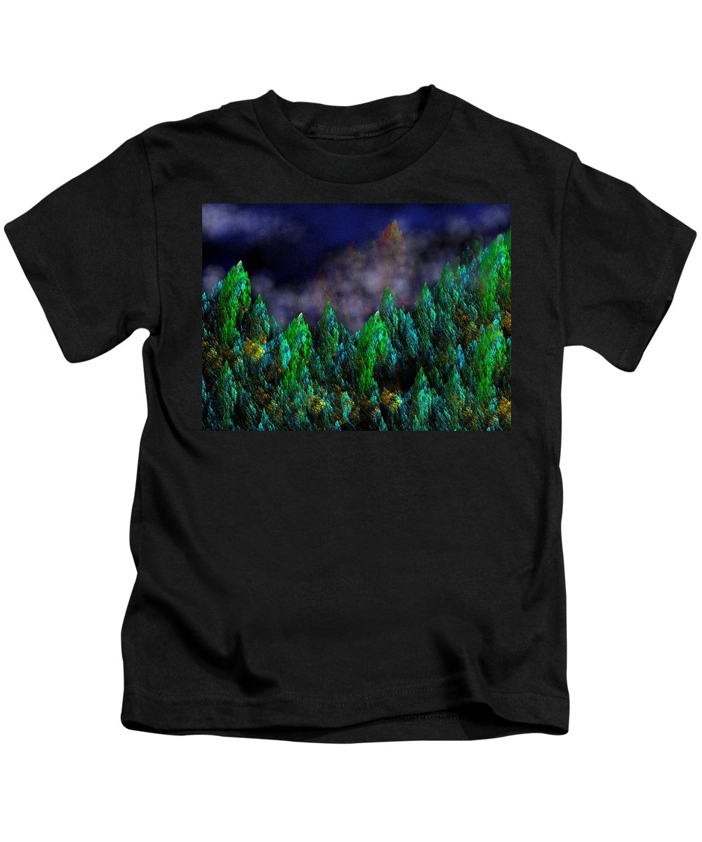 Abstract Digital Painting Kids T-Shirt featuring the digital art Forest Primeval by David Lane