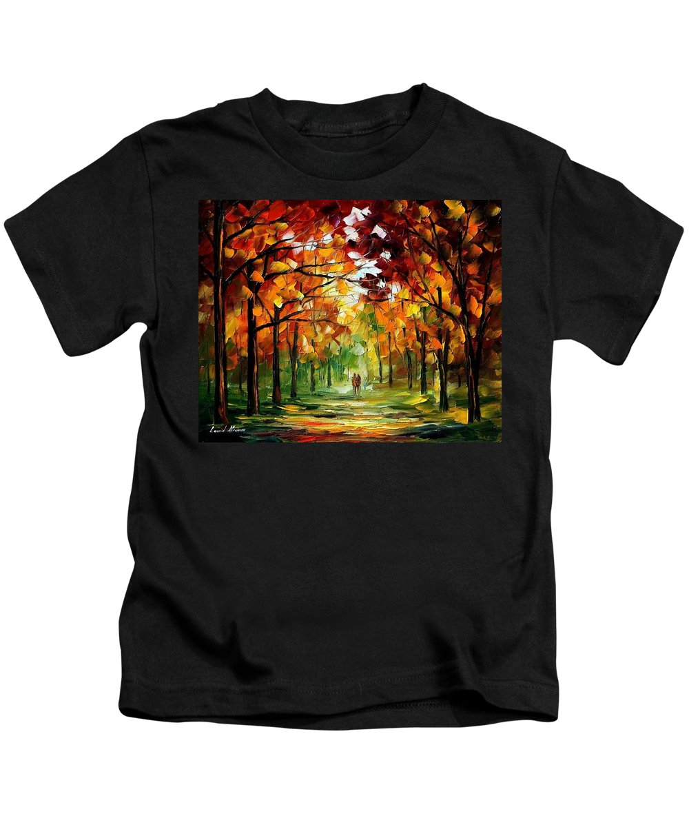 Jandscape Kids T-Shirt featuring the painting Forrest Of Dreams by Leonid Afremov