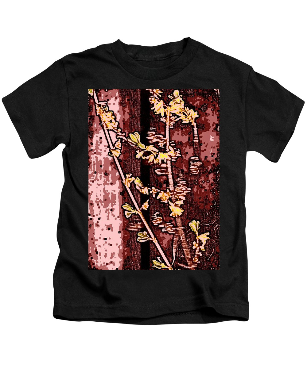 Flower Kids T-Shirt featuring the photograph Forsythia Branch by Wayne Potrafka