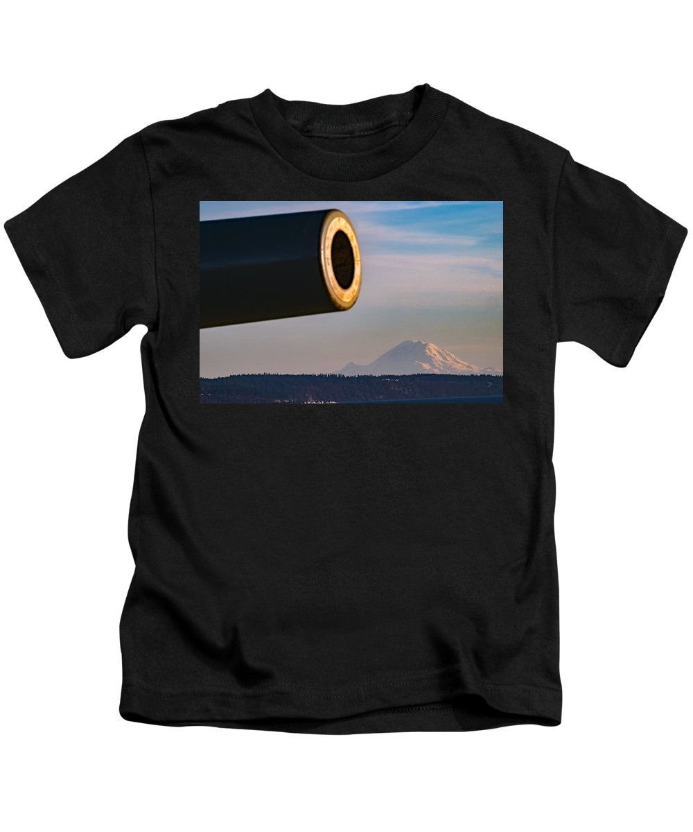 Fort Casey Kids T-Shirt featuring the photograph Fort Casey- Mount Rainer by Stephen Coletta