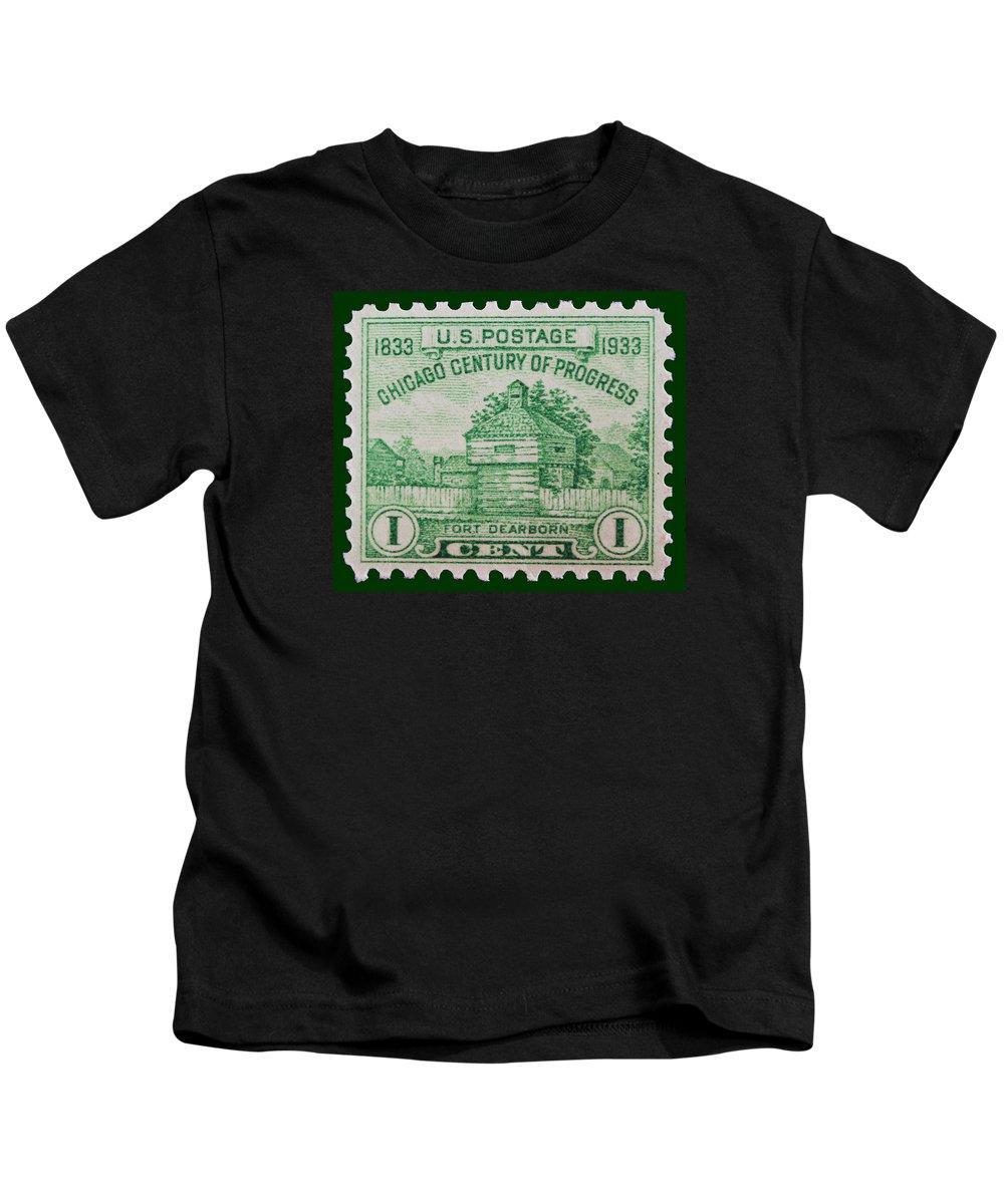 Fort Dearborn Postage Stamp Kids T-Shirt featuring the photograph Fort Dearborn Postage Stamp by James Hill