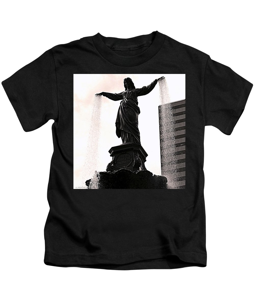 Statue Kids T-Shirt featuring the photograph Fountain Square Lady by Kathy Barney