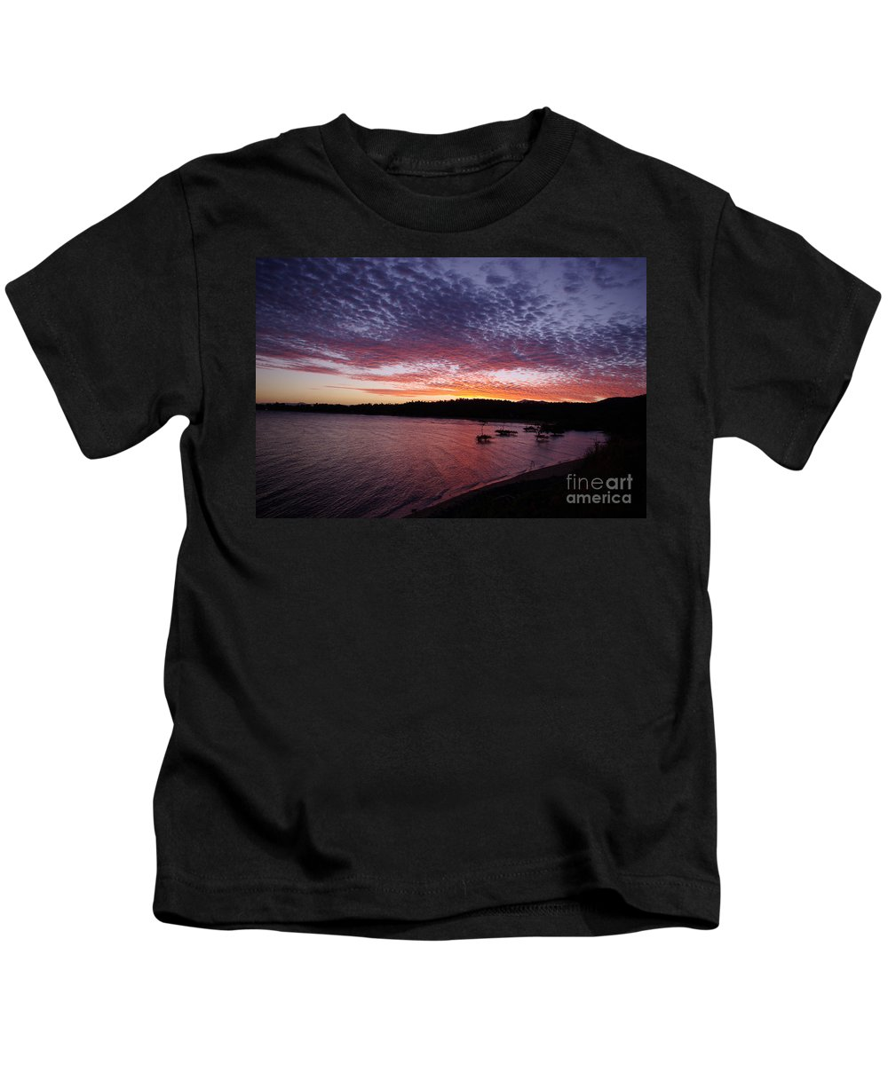 Landscape Kids T-Shirt featuring the photograph Four Elements Sunset Sequence 1 Coconuts Qld by Kerryn Madsen - Pietsch