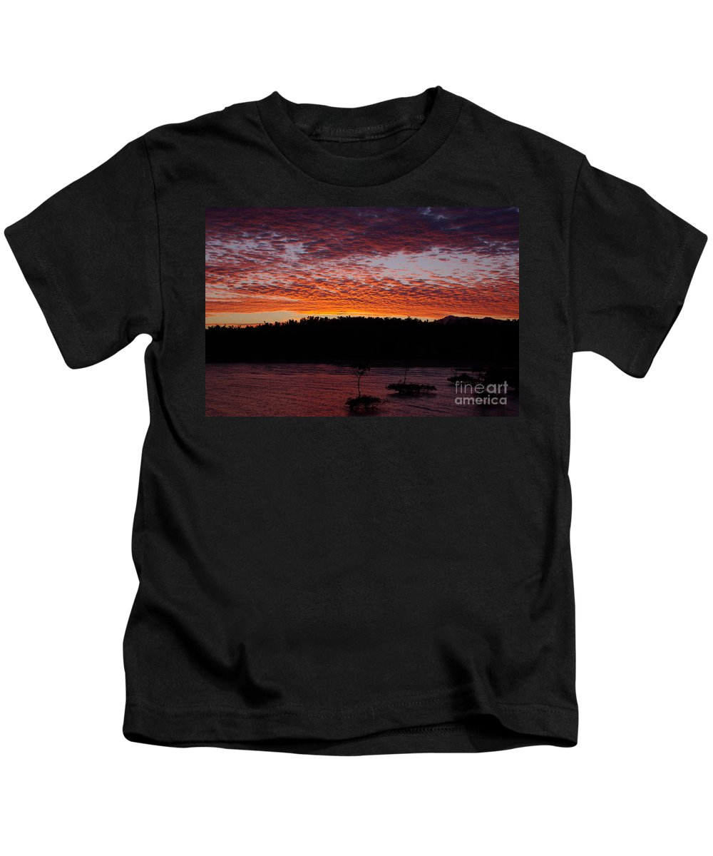 Landscape Kids T-Shirt featuring the photograph Four Elements Sunset Sequence 2 Coconuts Qld by Kerryn Madsen - Pietsch