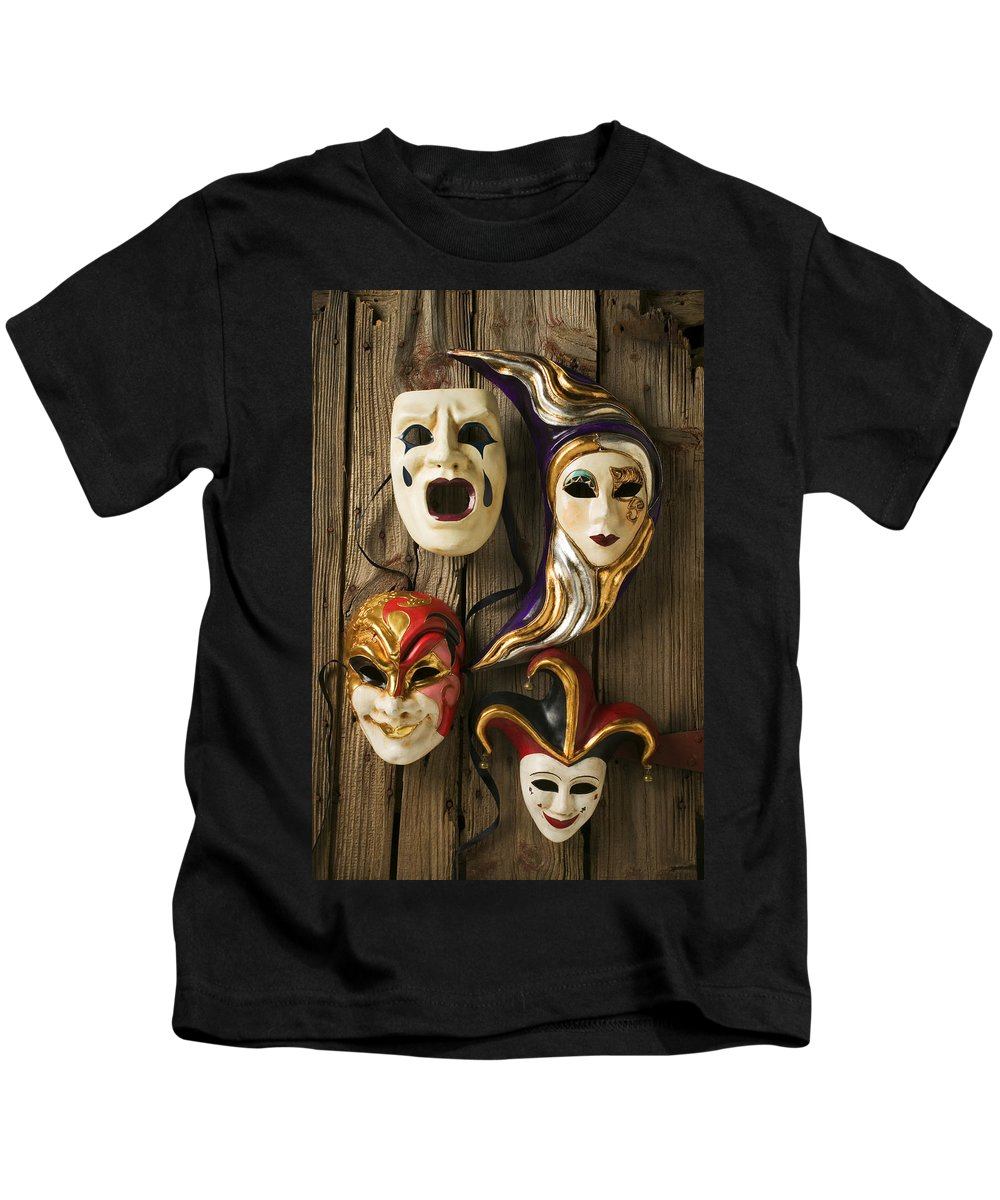 Mask Kids T-Shirt featuring the photograph Four Masks by Garry Gay