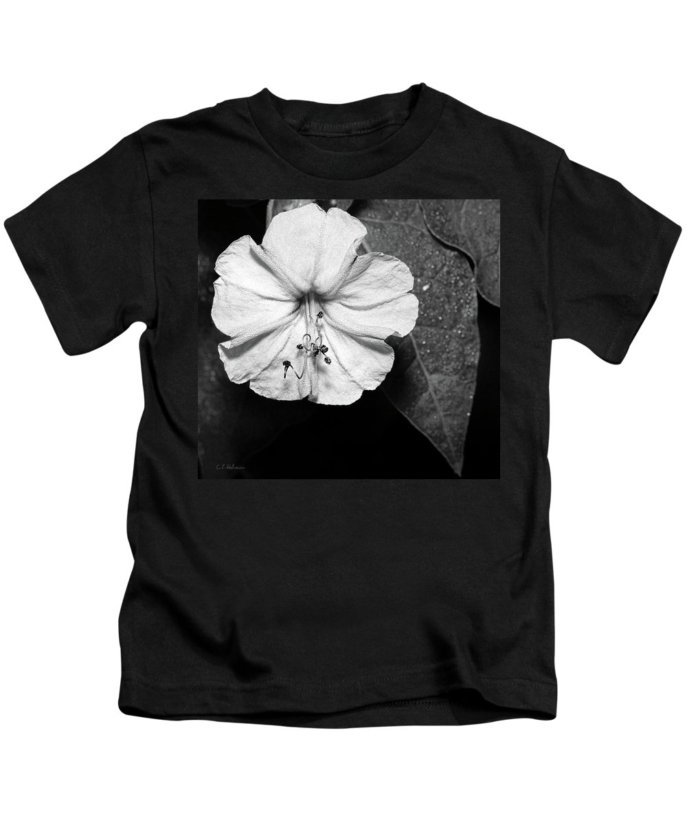 Flower Kids T-Shirt featuring the photograph Four O'clock - B-n-w by Christopher Holmes