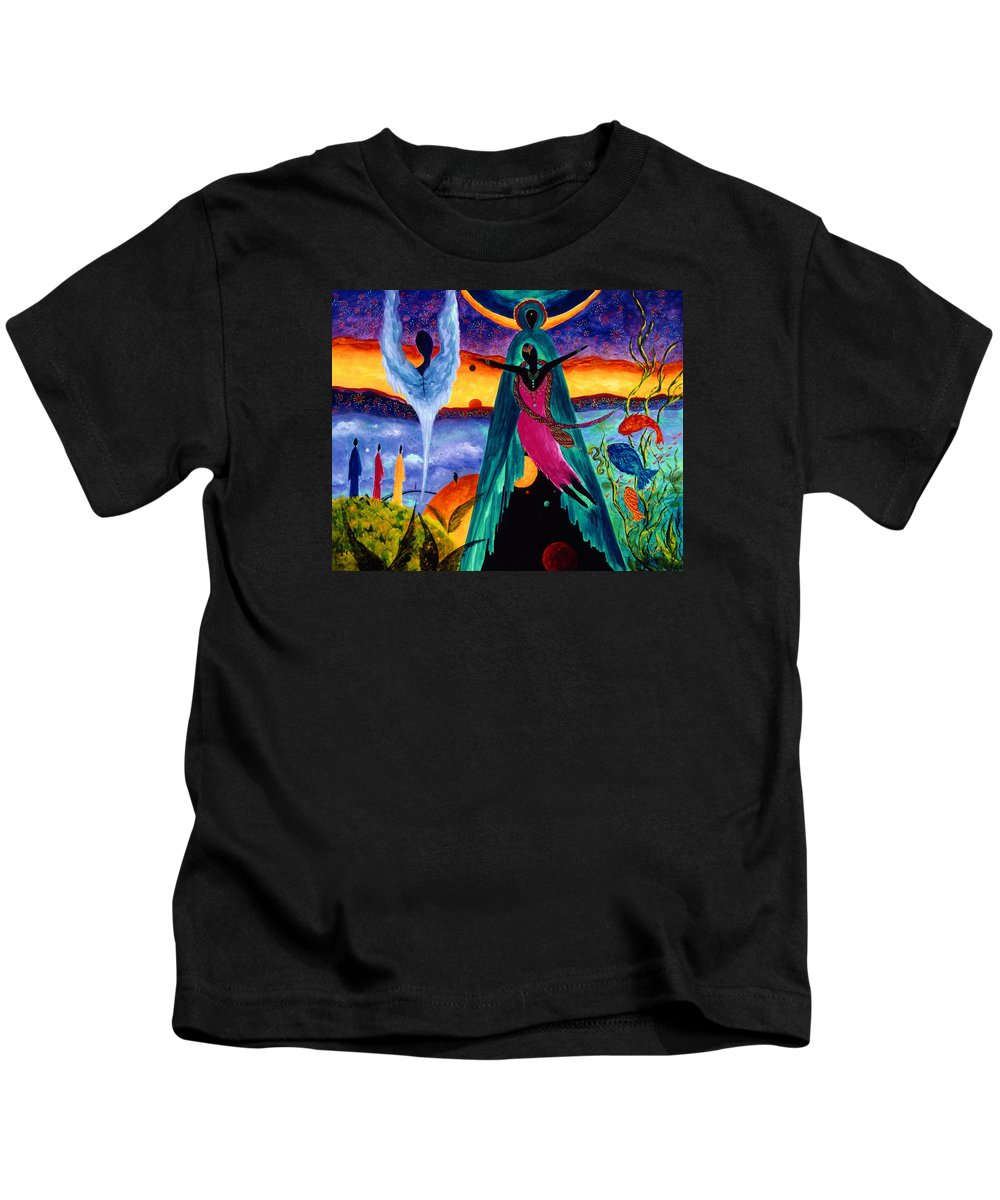 Abstract Kids T-Shirt featuring the painting Flight by Marina Petro