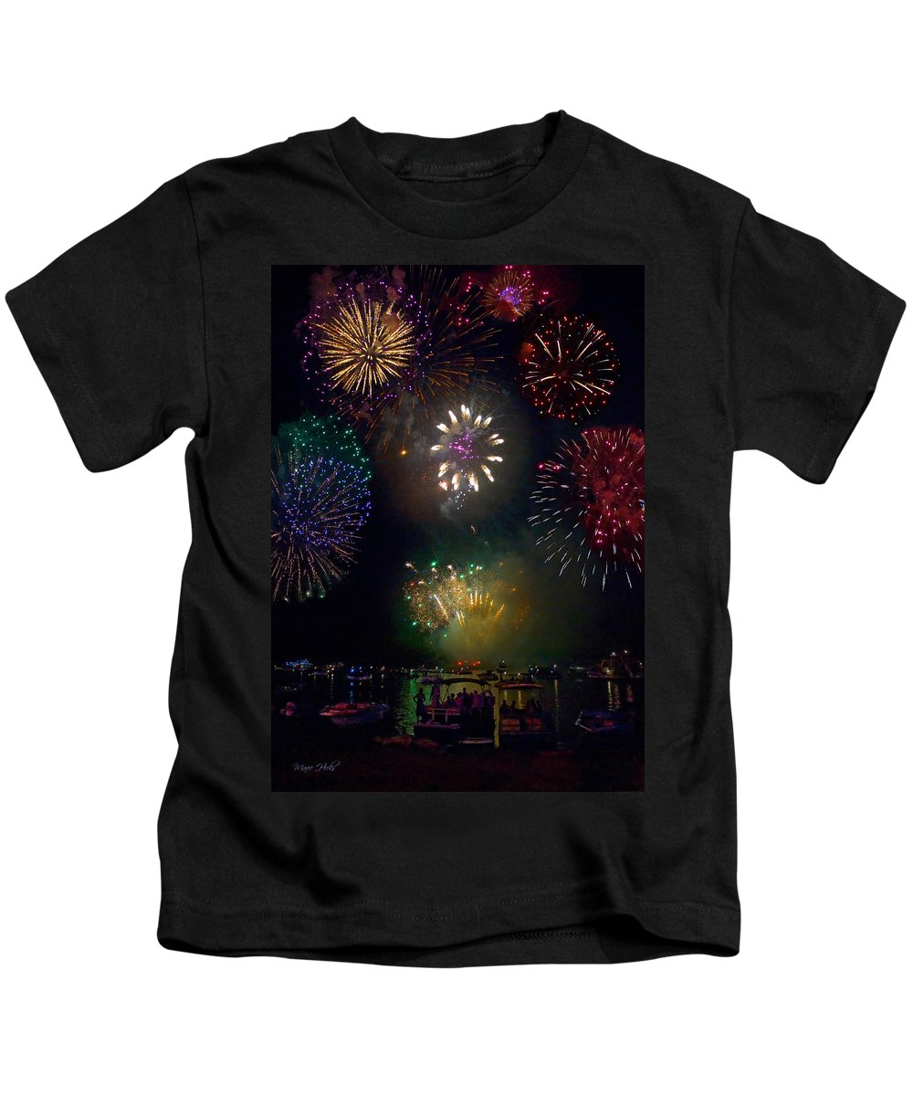 Fireworks Kids T-Shirt featuring the photograph Fourth Of July Fireworks by Marie Hicks