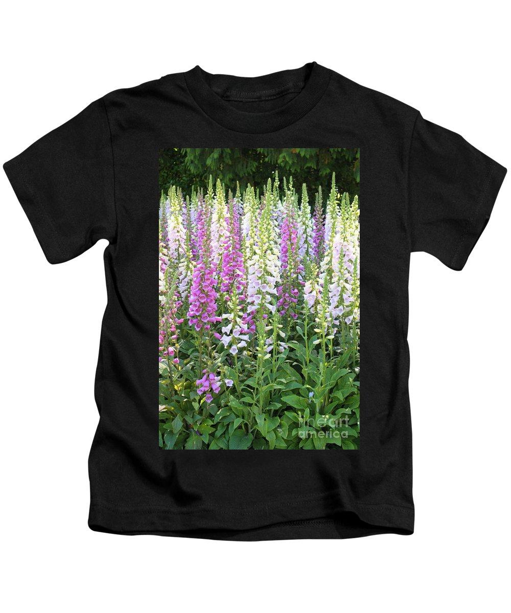 Foxfloves Kids T-Shirt featuring the photograph Foxglove Garden - Vertical by Carol Groenen