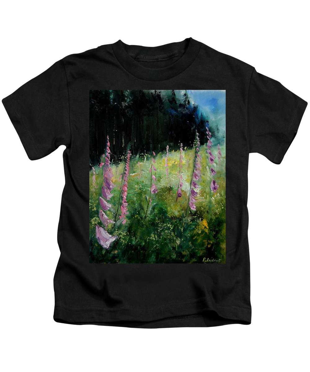 Flowers Kids T-Shirt featuring the painting Foxgloves by Pol Ledent