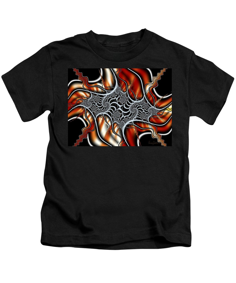 Veins Strings Lines Kids T-Shirt featuring the digital art Fractal 3 by Veronica Jackson