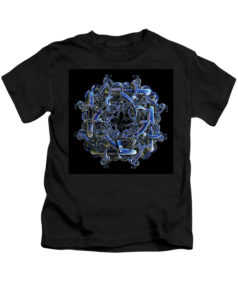 Fractal Kids T-Shirt featuring the digital art Fractal Complicated Intertwined Emblem by Nicholas Burningham