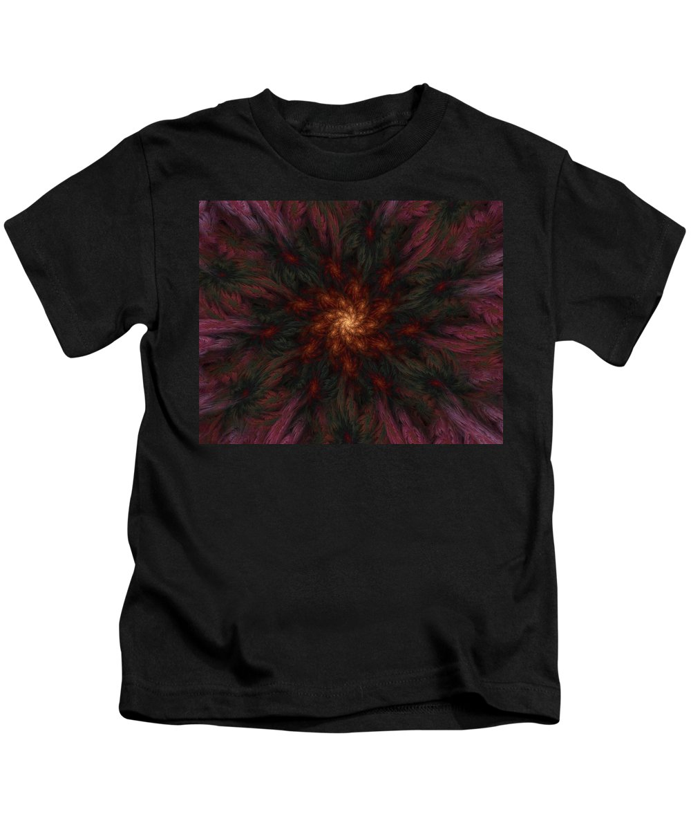 Digital Painting Kids T-Shirt featuring the digital art Fractal Floral Fantasy 02-13-10-b by David Lane