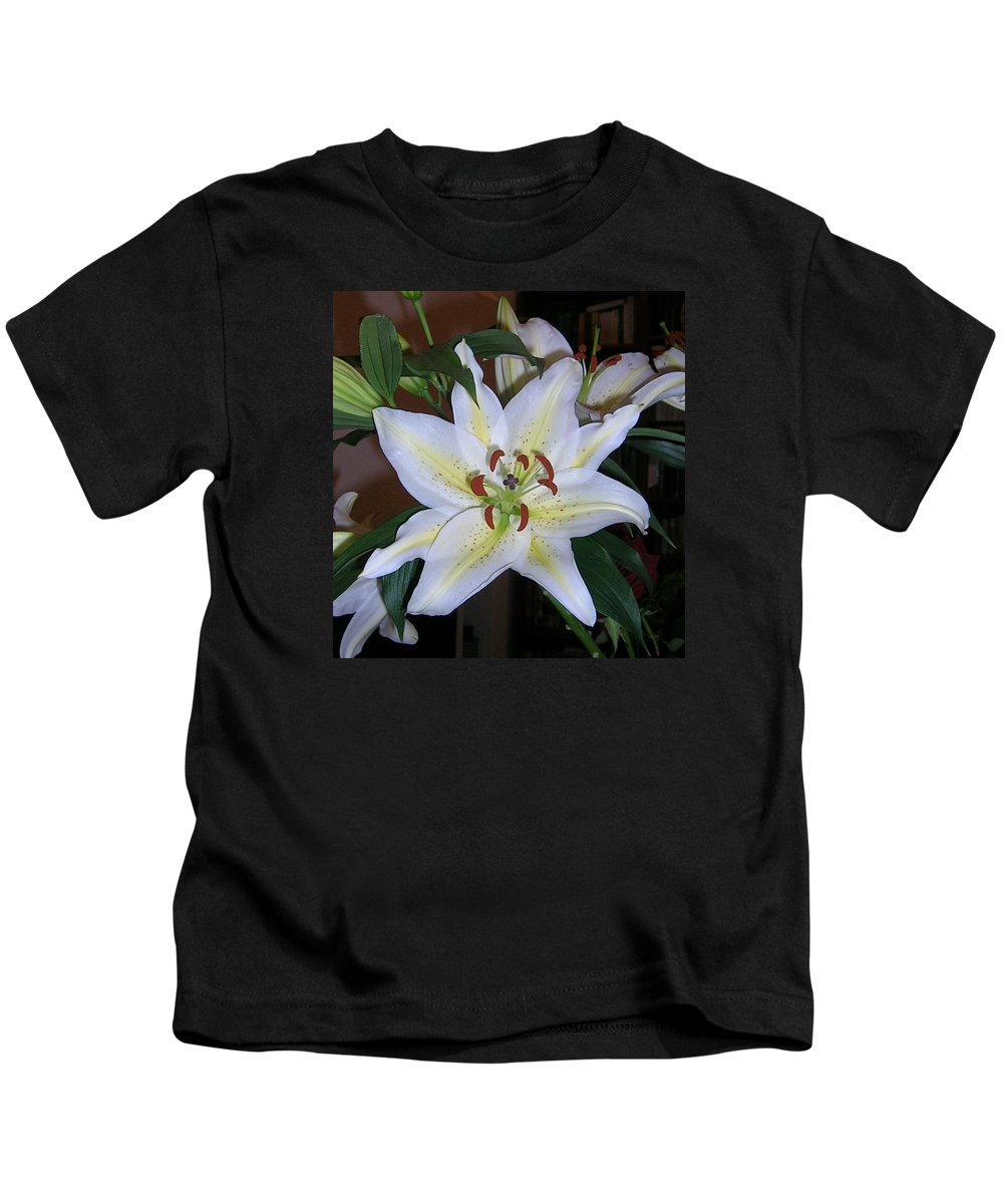 Flower Kids T-Shirt featuring the photograph Fragrant White Lily by Valerie Ornstein