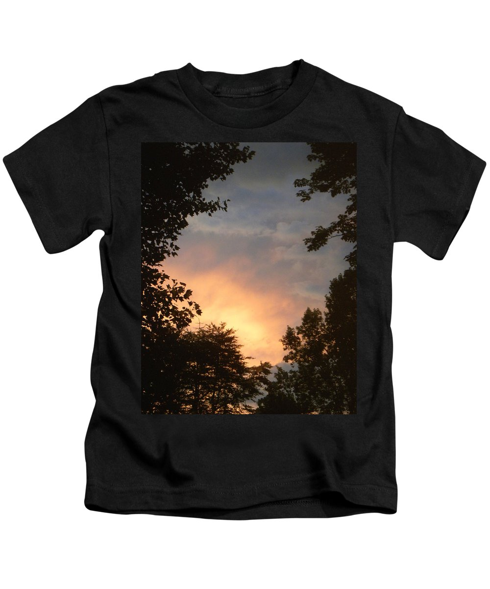 Sunset Kids T-Shirt featuring the photograph Framed Fire In The Sky by Sandi OReilly