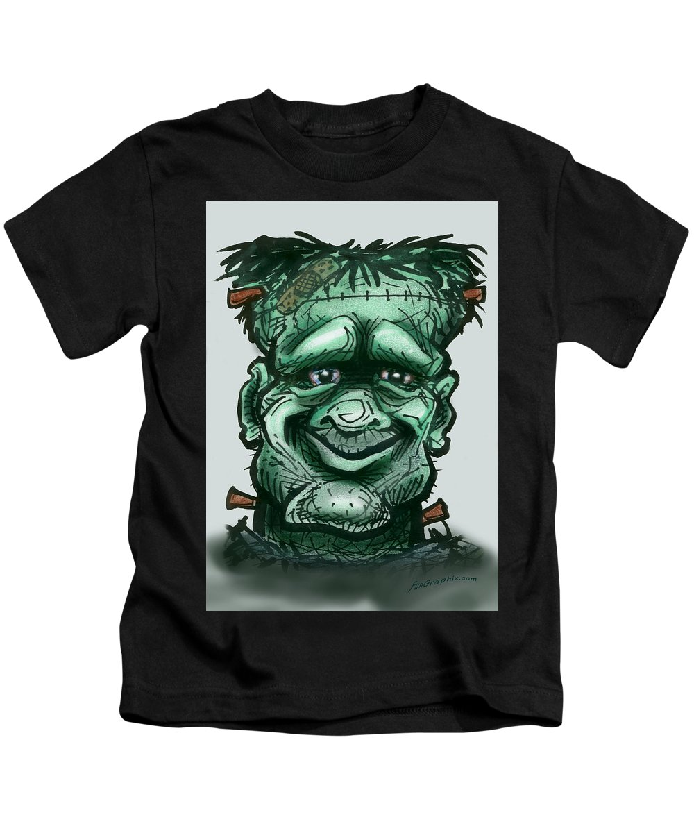 Frankenstein Kids T-Shirt featuring the greeting card Frankenstein by Kevin Middleton