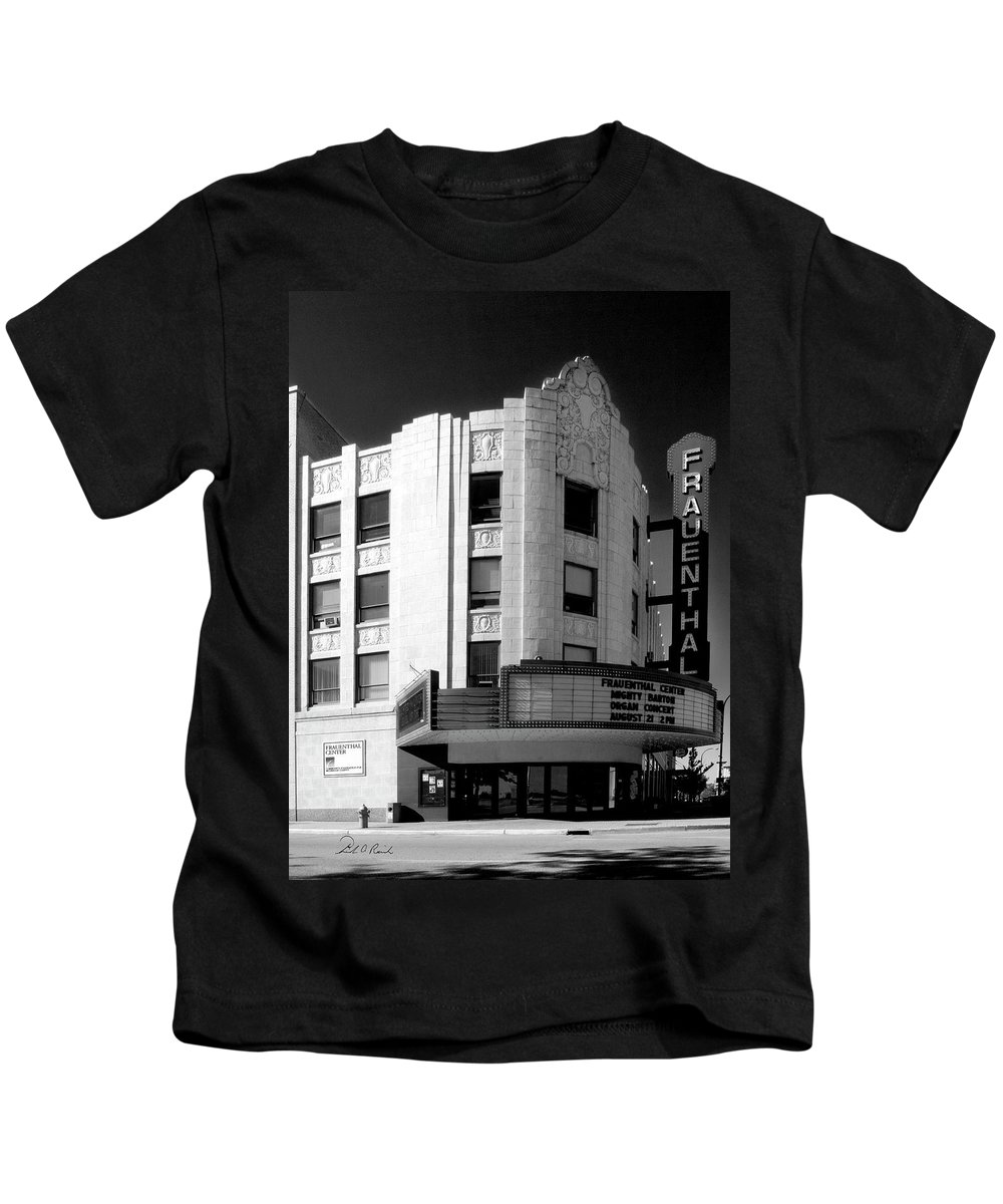 Black And White Kids T-Shirt featuring the photograph Frauenthal Theater Circa 2005 by Frederic A Reinecke